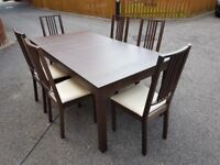 Ikea Bjursta Brown Extending Table 175cm - 260cm & 6 Borje Chairs FREE DELIVERY 522