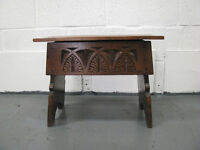 Small carved dark oak chest/table