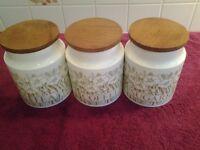 Hornsea Fleur Tea/Coffee/Sugar Storage Jars With Wooden Lids & Seals - In Excellent Condition