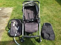 pushchair with baby car seat and foot muff