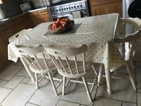 Farmhouse dining table, chairs and bench shabby chic