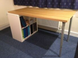 Wood effect Desk top with two adjustable legs and four box shelving unit