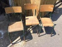 3x antique vintage French school chairs