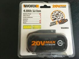 The WORX WA3553 is a powerful 20V 4.0Ah Lithium battery is interchangeable with other 20V Worx tool