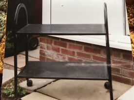 Black metal trolley with 2 shelves