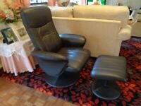 Armchair + footstool - faux leather chair - chocolate brown