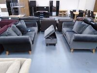 Brand New Charcoal 3+2 Velvet Set And Footstool is £500. Retails at £1550