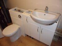 4 GLOSS WHITE BATHROOM CABINETS PLUS TOILET & BASIN TAPS