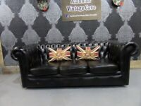 Fantastic Chesterfield 3 Seater Low Back Sofa in Dark Green Leather - UK Delivery