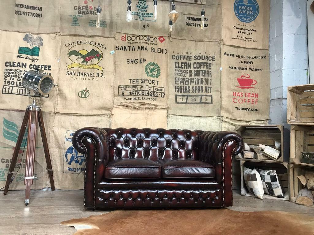 08998017770 Chesterfield Vintage Leather 2 Seater Sofa Ox Blood