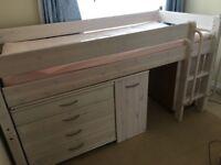 Single bed - kids Mid sleeper cabin bed, desk & furniture