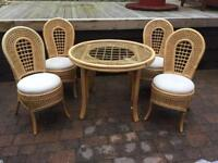 Bamboo and glass vintage dining table and four chairs