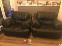Black leather sofa and chairs