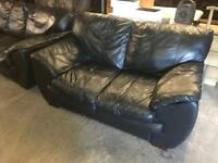 Quality black leather 3 seater sofa