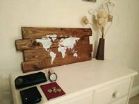Rustic pallet world map wall art