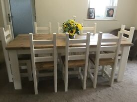 Stunning, Hand Crafted, Rustic Dining Table And 8 Chunky Chairs