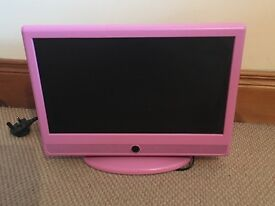 Pink television with built in DVD player (19 inch)