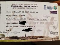 2tickets England vs West Indies (Headingley) Day3 27/08/17