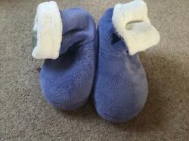 New m & s blue soft kids slippers