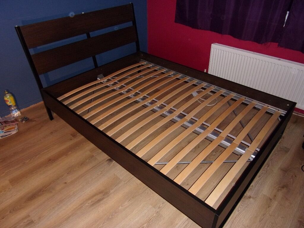 Ikea double bed frame trysil with luroy slatted bed base for Bed base ikea