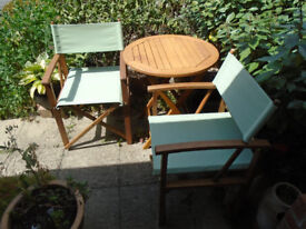 Table and chairs   hardwood   folding   used   At home, on a balcony or for a picnic in the country