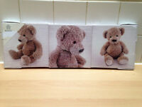 "3 teddy wall canvas's - 8"" x 8"" each canvas - BRAND NEW NEVER BEEN OPENED!!!!"