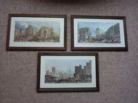 3 London scenes in quality dark wood frames.