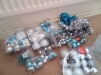 Blue and silver baubles also other glitter decorations