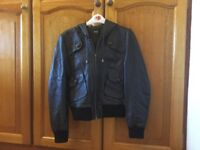 Ladies brown leather bomber jacket - small