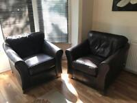 M&S Abbey Brown leather sofa and chairs