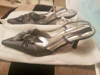 Farfalla kitten heel silver shoes size 7 and matching bag