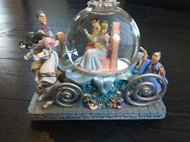 Large Rare Disney Cinderella 50th Anniversary Musical Snowglobe