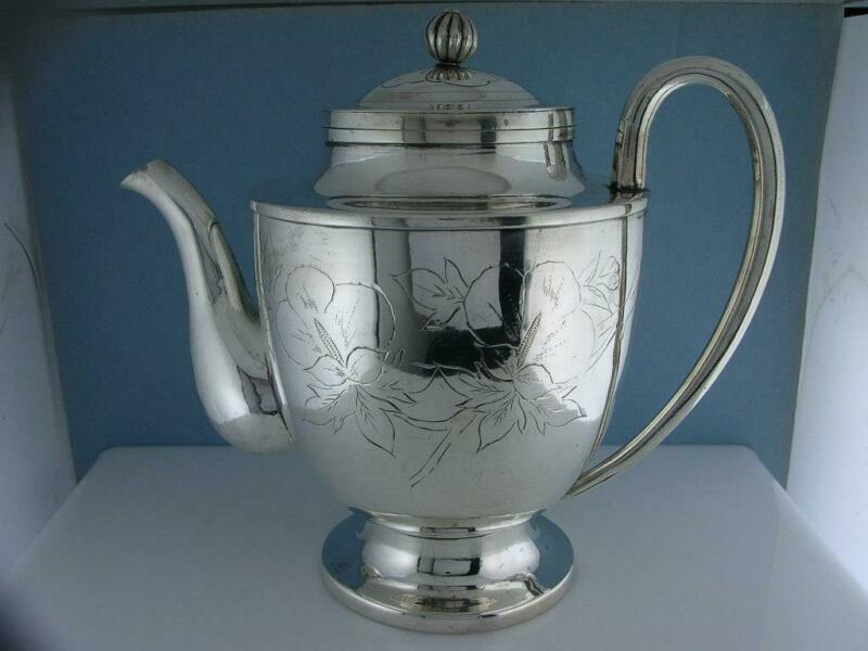 Wonderful Antique Chinese / Japanese Silver Teapot w/ floral patterns ~ signed