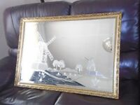 mirror engraved with gold frame