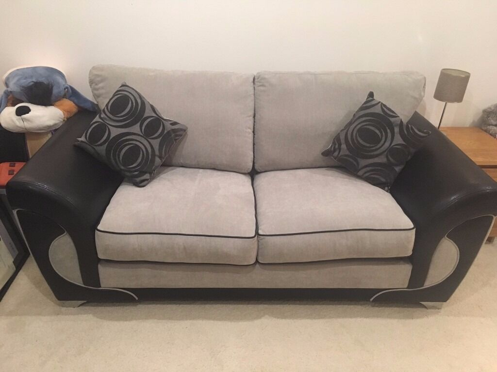 Yang Sofa grey fabric and black leather sofa bed with optional matching ying