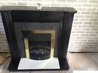 Quick Sale -Electric Fire (solid wood) with Marble Hearth