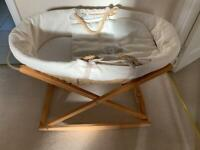 Baby Mamas & Papas Moses Basket & Stand Mattress Padded Liner & Fitted Sheets X2