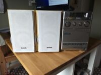 Panasonic Stereo system and speakers, AUX, FM radio, CD and tape
