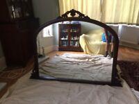over mantle mirror nice condition ornate antique dark wood