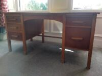 Solid Oak Mid Century Teachers Desk