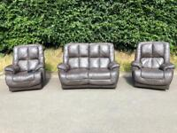 Brown Leather reclining suite * free furniture delivery *