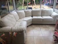 Large white leather corner sofa