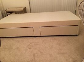 Cream bed base with draws really good condition