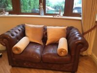 Leather Chesterfield Brown 2 Seater Sofa
