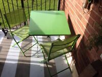 Garden / patio / balcony furniture –foldable table and 2 chairs - Greenisland