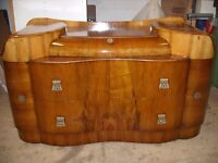 walnut dressing table, chest of drawers, a cloud shape design-Art Deco style by Supersuite c.1960