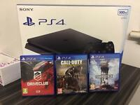 PlayStation 4 PS4 Slim Black 500GB with Call of Duty Star Wars and Driveclub game bundle