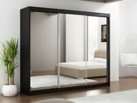 🔆 〽️Lowest price offer BERLIN 2 DOOR SLIDING WARDROBE WITH FULL MIRROR SAME DAY DELIVERY🔆 〽️