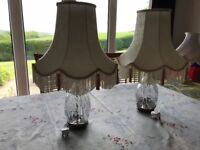 Pair of Cut Glass Table Lamps with Fabric Shades