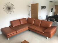 Tan Italian Leather Corner Sofa